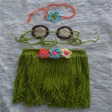 Cute Sexy Baby Girl's Photographing Costumes Crochet Hand Made Headband Little Bra and TUTU Green Hula Skirt