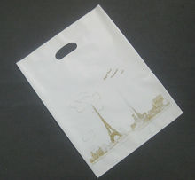 Customized shaped handle printing die cut plastic bag for packaging