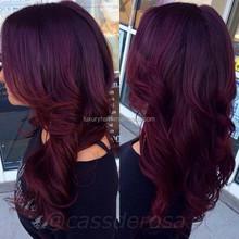 Stock Top Fashion 20 Inch Wavy 100% Human Hair Brazilian Hair Purple Lace Front Wig