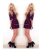 Veri Gude 2015 Summer Sexy Half Sleeve Plaid Dress in black and Red for Women