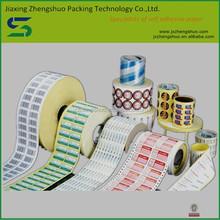 semi-glossy paper /wood free/PET film/PVC self adhesive label