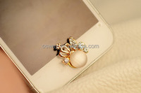 Cute Bling Metal Crown Home Buttons Stickers For iPhone 4 4S 5 5S 6 6Plus