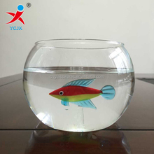 hand made round borosilicate glass fish tank bowl with color fish craft inside