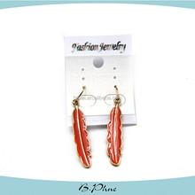 2015 Simple Design Long Chain Metal Red Earrings Drop Earring
