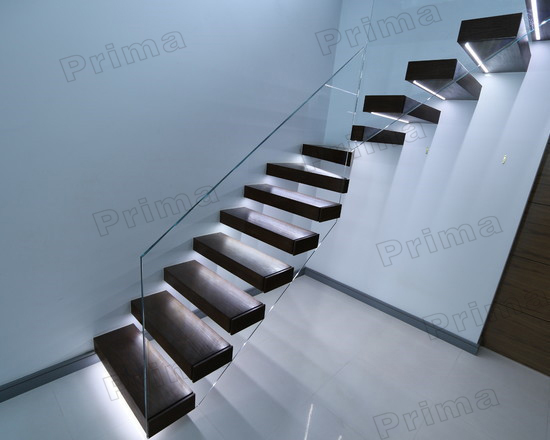 Self Supporting Cantilever Wood Staircase Hidden Stringer
