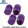 auto Purple Hexagon Aluminum Alloy Tire Valve Caps