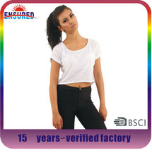 2014 lady Fashion plain blank white crop top with printing