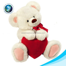 Cheap cute plush teddy bear with red heart stuffed white valentines day bear