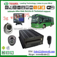 Teswelltech 4 CH 1080P camera MDVR system local and remote 3g live video recording and playback bus surveillance systems