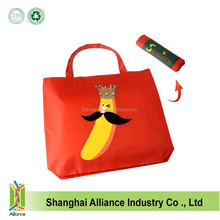 190D Polyester Banana Printing Foldable Shopping Tote Bag,Collapsible Bag Rolling Into a Reel