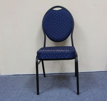 Steel banquet chair with blue dot fabric and iron tube ordinary oval back banquet chair