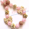 Sparkle gold bow & glitter First birthday Bubblegum beaded gold girl chunky necklace