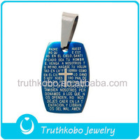IPG Plating Blue New Sideways Religious Cross Stainless Steel Bible Prayers Pendant,Christian Book Pendant Blue Bible Pendant