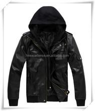Russia Men's Slim PU Leather Detachable Hooded Biker Jacket Trench Coat Outwear