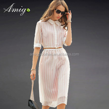 2015 classic vertical strip collar white office ladies casual dress small order