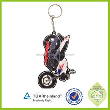 Wholesale manufacturer Popular souvenir Rubber Motorcycle Keyrings
