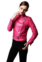 High-end Women Moto Jacket Chic Snap Collar Leather Jacket