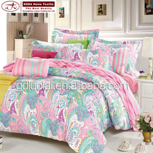 Spring flower 100% cotton queen bedding set bedclothes with reversible bedsheet 4pcs cototn fabric bed sheet flat sheet