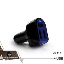 Fashion design universal 5V6A 3 port usb car charger