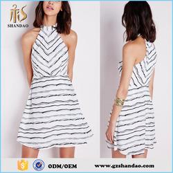 New Model Girls Casual Stripe High Neck Off Shoulder Short A-Line Dress