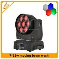 Hot selling!!7pcs 15w led moving head iluminacion dj zoom wash light