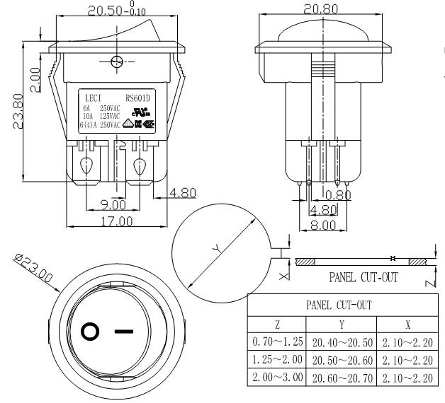 double pole 4 pin rocker switch 16a 125v 16a 250v