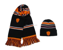 100%acrylic hat and scarf , football sport knitted hat and scarf