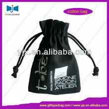 Black Drawstring Cotton Bag with Logo