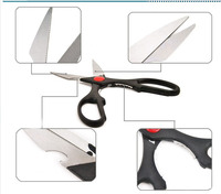 New design Multi-function stainless steel scissors coating tailor scissors with plastic handle kitchen scissors