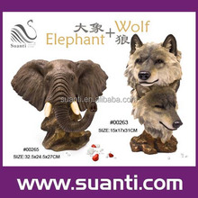 Resin elephant wolf statue, polyresin wild animal figurine, gift and souvenir