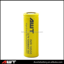 AWT li ion e cig battery rechargeable18500 18a 1200mah 3.7v battery long cycle life alkaline for ebike and torch battery pack