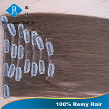 Cheap 100% Remy Human Hair kinky straight clip in hair extensions