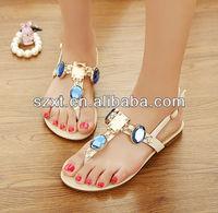 Big diamonds women shoe fashion flat summer sandals 2014 for women