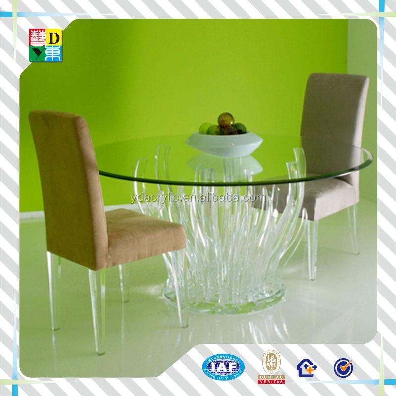 Elegante acrílico 6 plazas mesa redonda de comedor y sillas para ...
