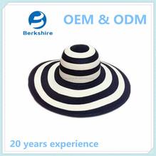 2015 New fashion white stripes women beach sun straw hats