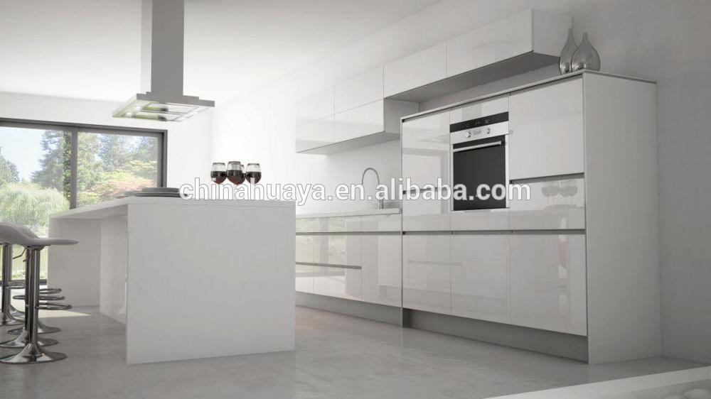 Estilo moderno de alto brillo lacado mueble cocina puerta de ...