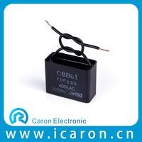 rectangular fire-retardant plastic case film fan capacitor cbb61