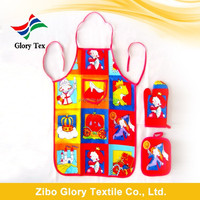 Cheap 100% cotton printed kids apron and oven mitt set China wholesale