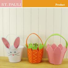 Factory price rabbit&carrot&pink color design easter basket craft