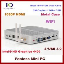 Bulk Cheapest i3 4010U Dual Core Linux Ubuntu Mini PC 12V Fanless Desktop Computer Barebone Rugged Metal Case 3D Gaming PC