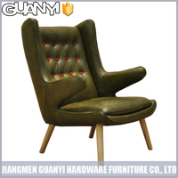 leather cover single classical sofa with wood legs