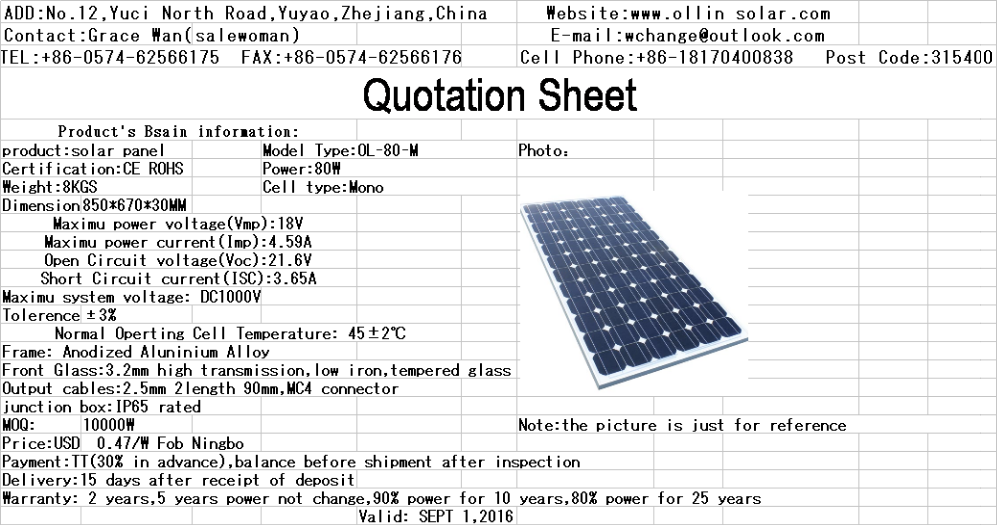 High Efficiency Solar Panel System 80w Soalr Photovoltaic