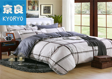 Plaid wholesale 100% cotton pillow mat fitted sheet and comforter sheet bedding set