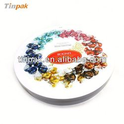 new style round metal chocolate tin container