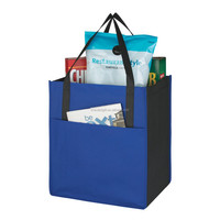 Non-woven Pocket Tote Bag Two Tone Bag with Bottom Insert