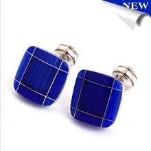 fashion men's jewelry blue cats eye cufflinks for wholesale metal base cufflink