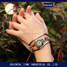 Good quality women dress watch women Casual Weave Wrap chain Leather Vintage Bracelet Quartz wristwatch