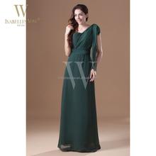 Beautiful one shoulder hunter green chiffon plus size big size evening dress for fat women