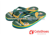 2013 New style ! heated transfer printing rubber upper eva sole new design flat men heated slippers