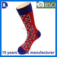 hot custom usa jacquard cotton knee high long young girls tube socks